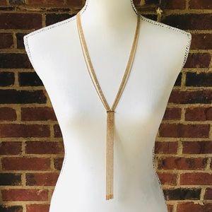 Multi Strand Sexy Slinky Gold Y Tassel Necklace